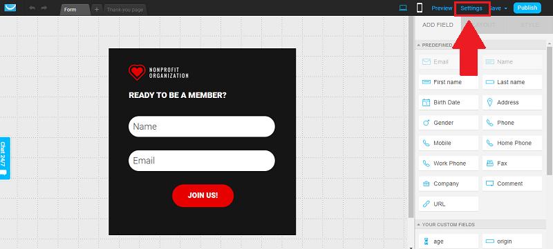 GetResponse Form Settings