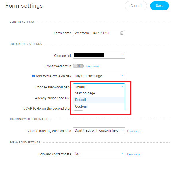 GetResponse Form Settings - Choose Thank you page