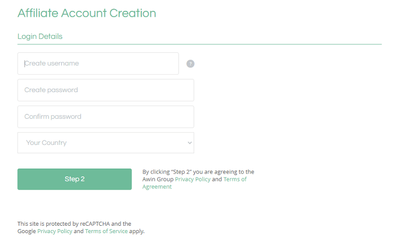 ShareASale Affiliate Account Creation - Step 1