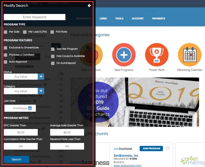 ShareASale Modify Search