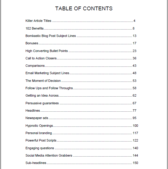 Gigantic Swipe Files Book - Table of Contents