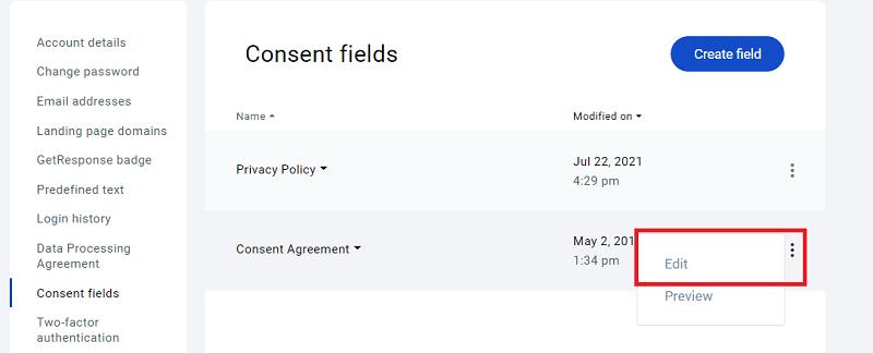 GetResponse - Edit Consent Fields