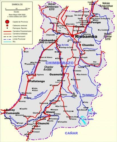chimborazo ecuador road map