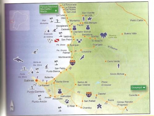 salinas montanita ecuador map