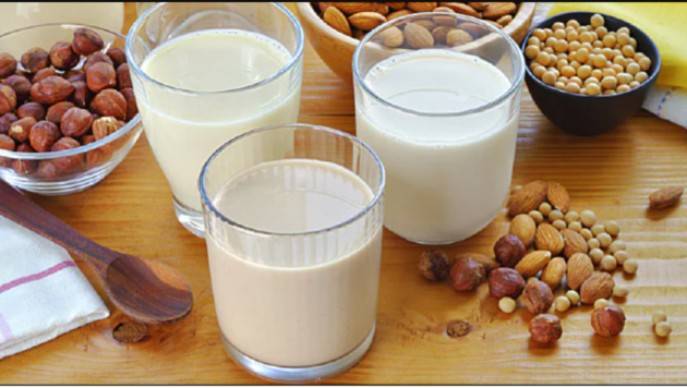 milk and peanuts on a table