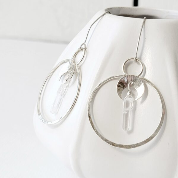 Healing Crystal Quartz Moon Phase Hoop Earrings, Sterling Silver