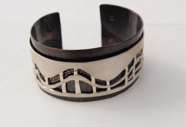 Copper and sterling Silver Artisan Cuff Bracelet, unique handmade jewelry