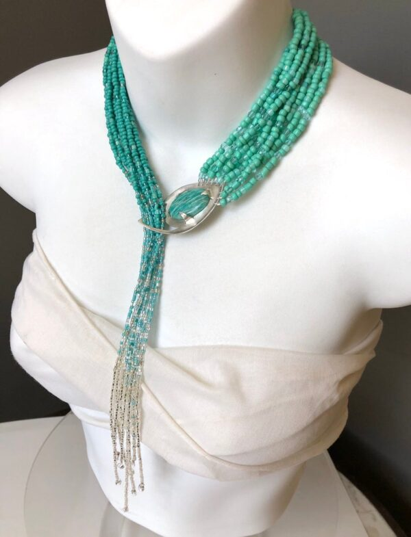 Amazonite & Sterling Silver Waterfall Handmade Necklace unique handcrafted jewelry