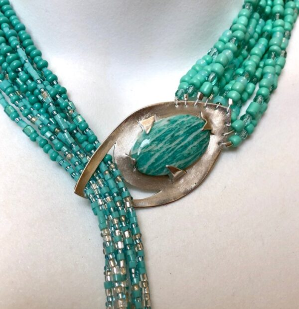 Amazonite Waterfall Necklace Sterling unique handcrafted jewelry