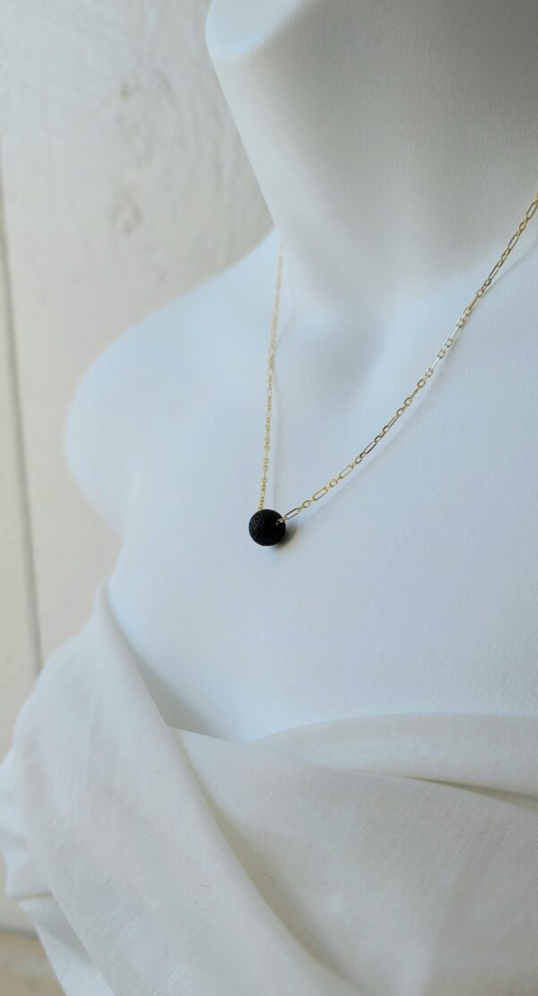 Essential oil and lava stone bead necklace 18kt