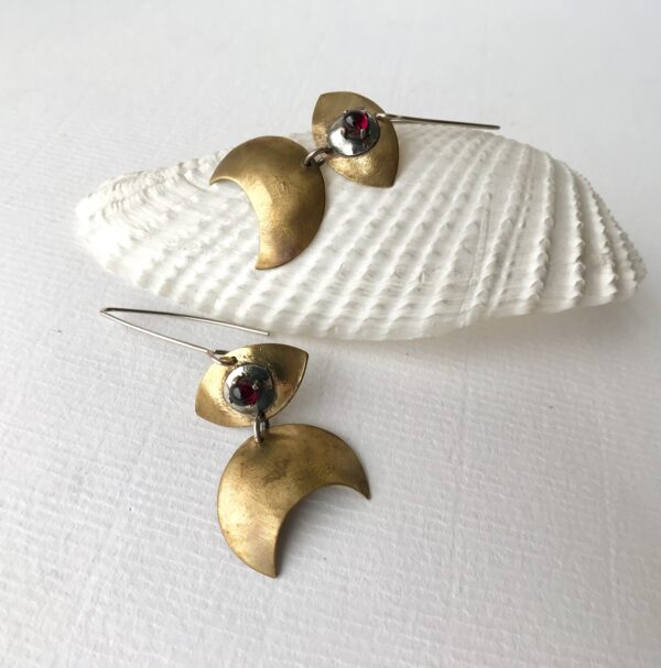 Crescent Moon Evil Eye Brass and Garnet Earrings