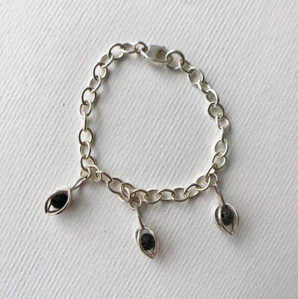 Sterling Chain Link Bracelet with 3 Gem Pods