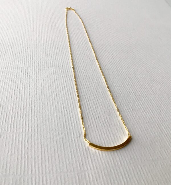 Curved Bar Necklace 18kt Gold over Sterling