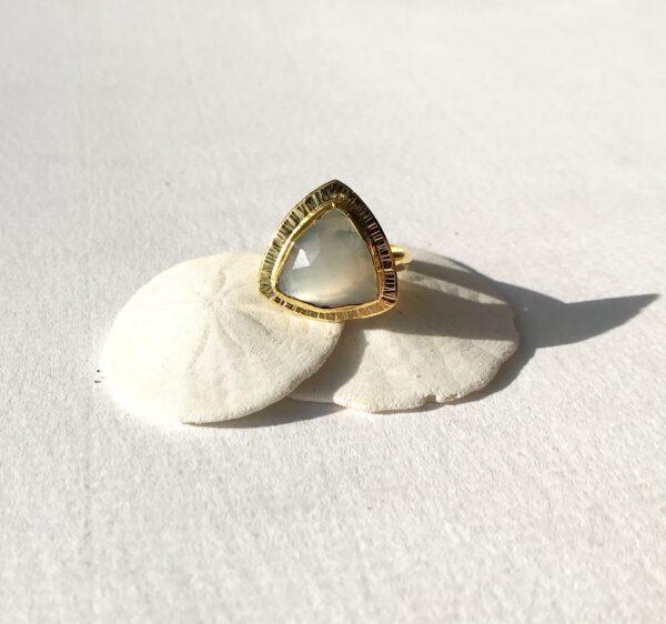 Moonstone Healing Gemstone Divine Feminine Ring - 18kt Gold over Sterling