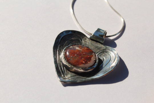 Red Moss Agate Guardian Heart Pendant