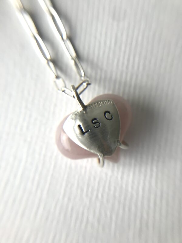 Rose Quartz Always My Heart Necklace Sterling Initials