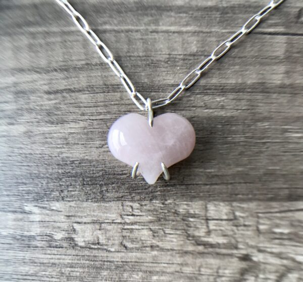 Rose Quartz Always My Heart Necklace Sterling
