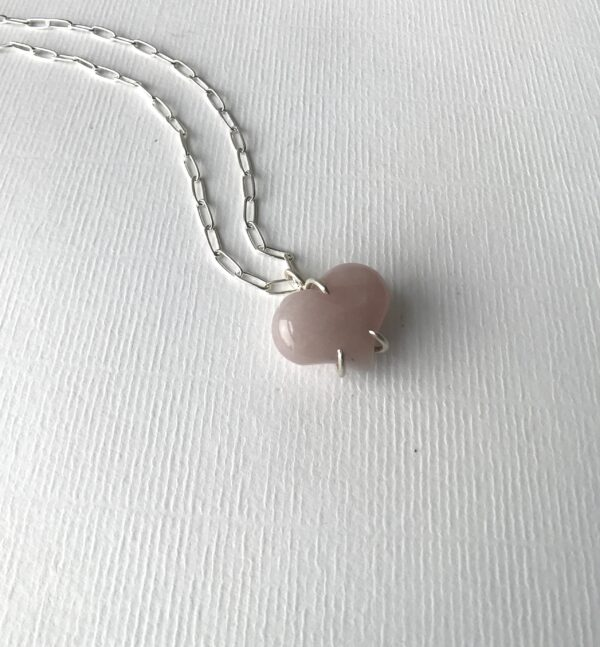 Rose Quartz Always My Heart Gemstone Necklace Sterling Silver