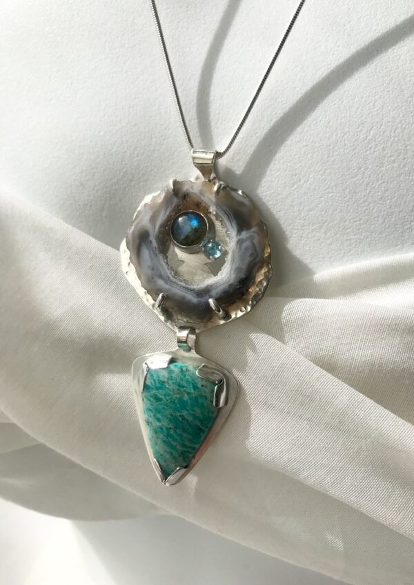 Geode necklace with labradorite, amazonite and blue topaz, sterling silver