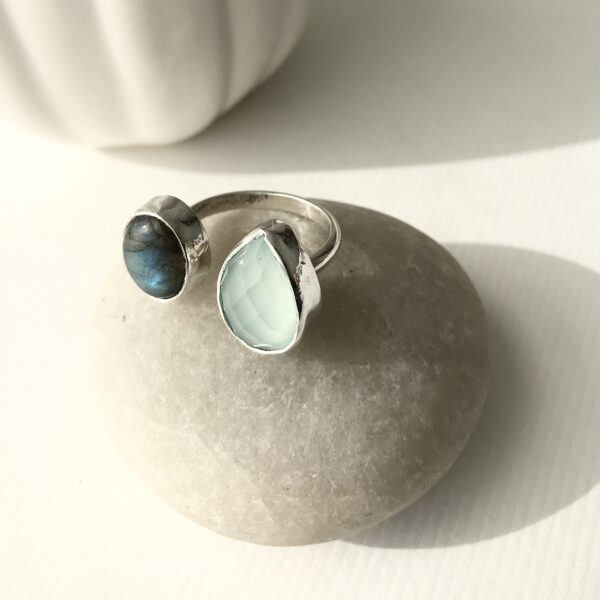 Double Sterling Ring with Green Chalcedony and Druzy