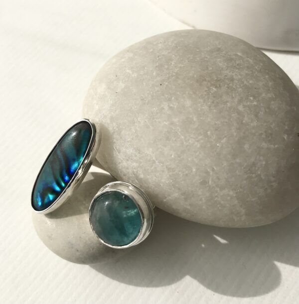 Double Sterling Ring with Paua Shell and Fluorite
