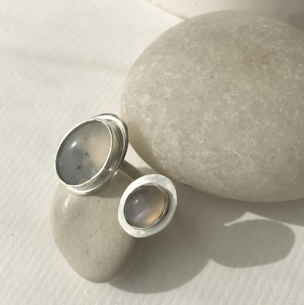 Double Sterling Ring with Agate and Grey Moonstone