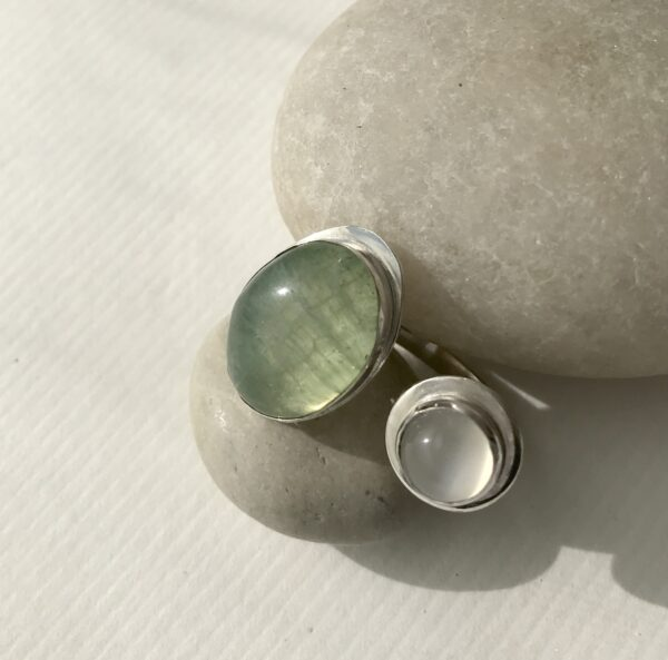 Double Sterling Ring with Moonstone and Green Sea Sediment