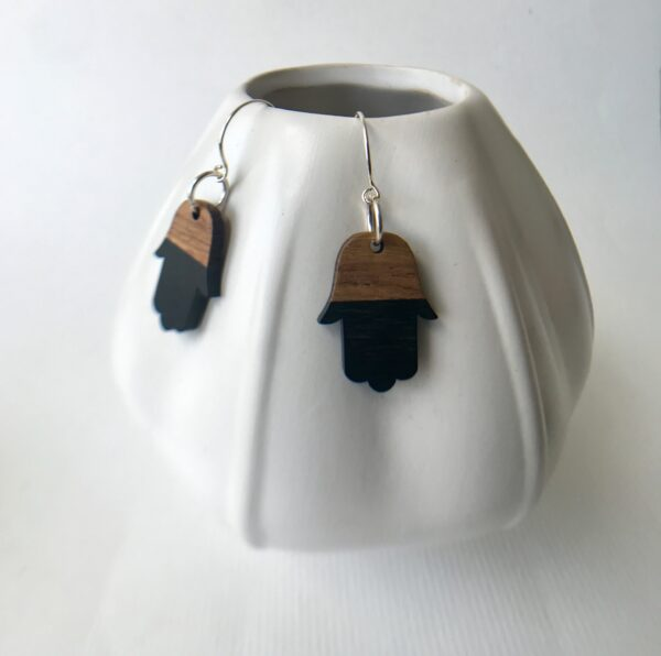 Rosewood resin Hamsa earrings