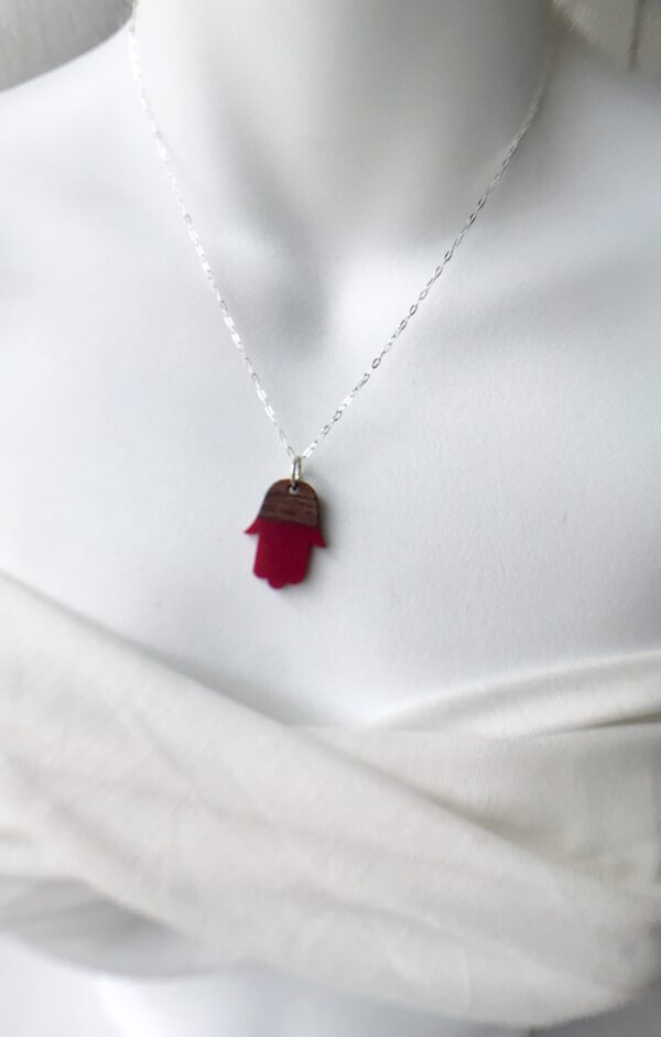 Rosewood resin Hamsa necklace