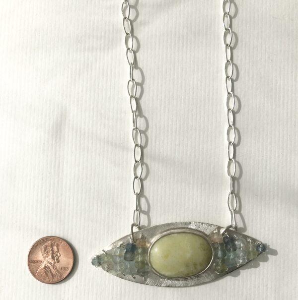Lemon Jade Topaz evil eye necklace