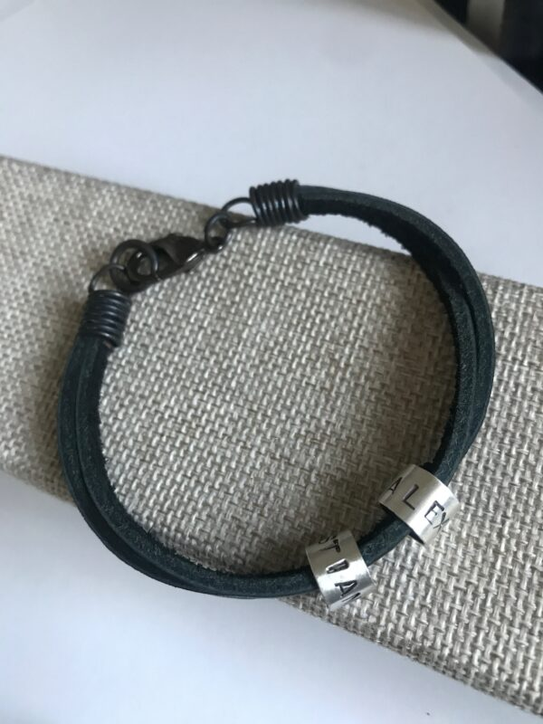 Men's Double-Stranded, Leather Bracelet with Customizable Sterling Silver Name Bead