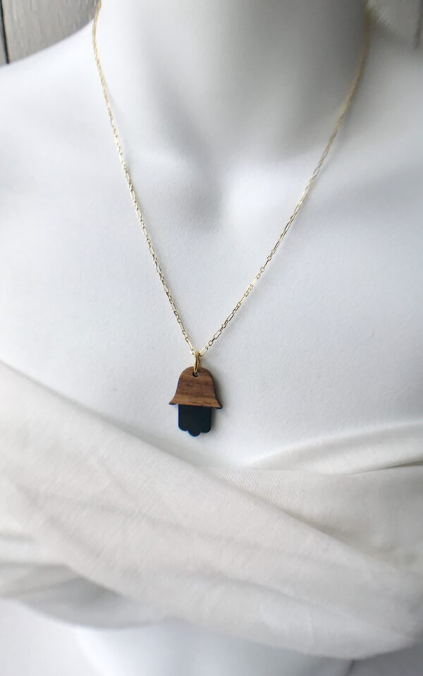 Rosewood resin Hamsa necklace sterling