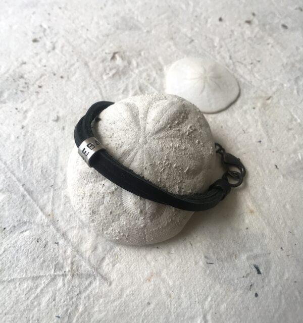 Men's Double Strand Leather Dad's Bracelet Sterling Silver