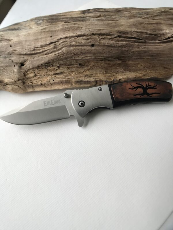 Customized pocket knife with hand-cut 'Tree of Life' design - Copper
