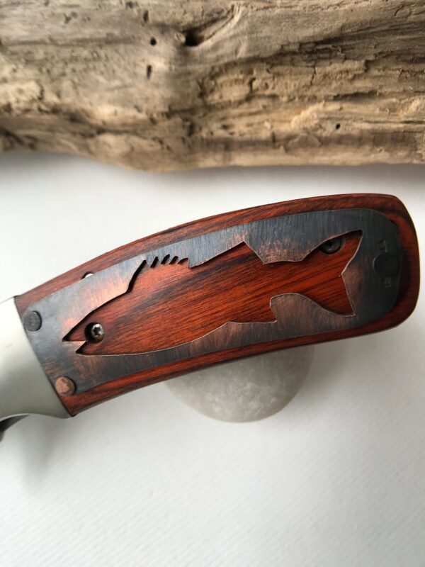 Customized pocket knife with hand-cut 'Fish' design - Copper