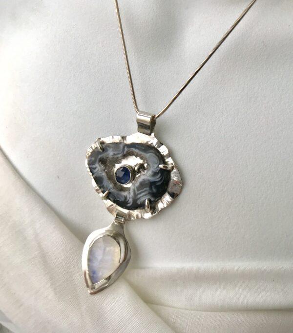 Geode Goddess Necklace - Druzy Agate Geode, Rainbow Moonstone, Hematite, Iolite, Sterling Silver