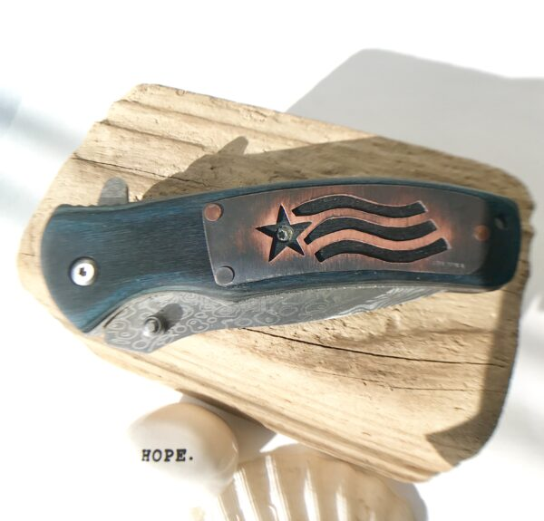 Stars stripes Wood customized pocket knife