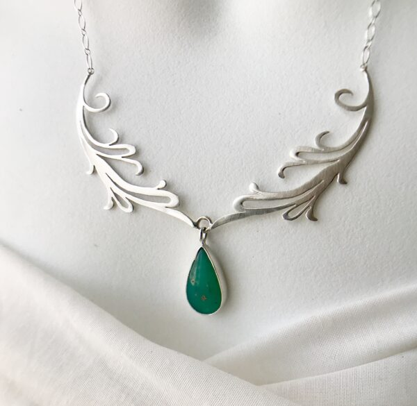 Double Fierce Feminine Scroll Necklace with Peruvian Blue Opal - Sterling