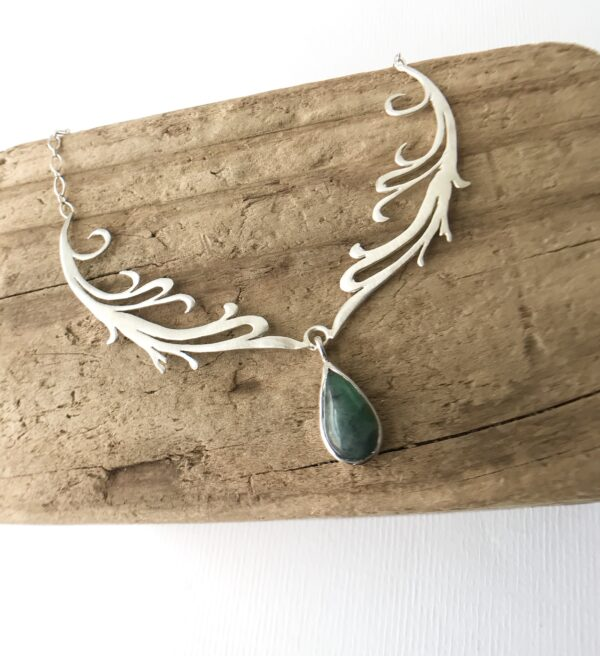 Double Fierce Feminine Scroll Necklace with Cabochon Matrix Emerald - Sterling