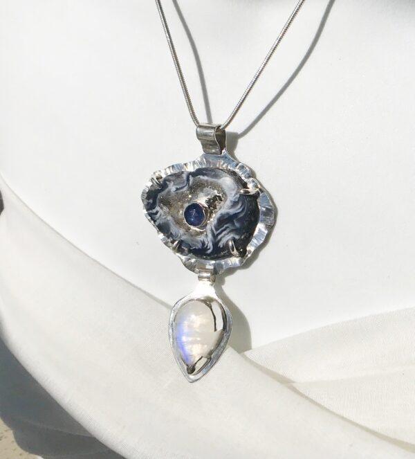 Geode Iolite hematite moonstone necklace