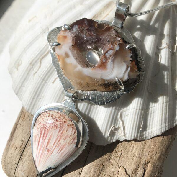 Geode Goddess Necklace - Druzy Agate Geode, Scolecite, moonstone, Sterling Silver