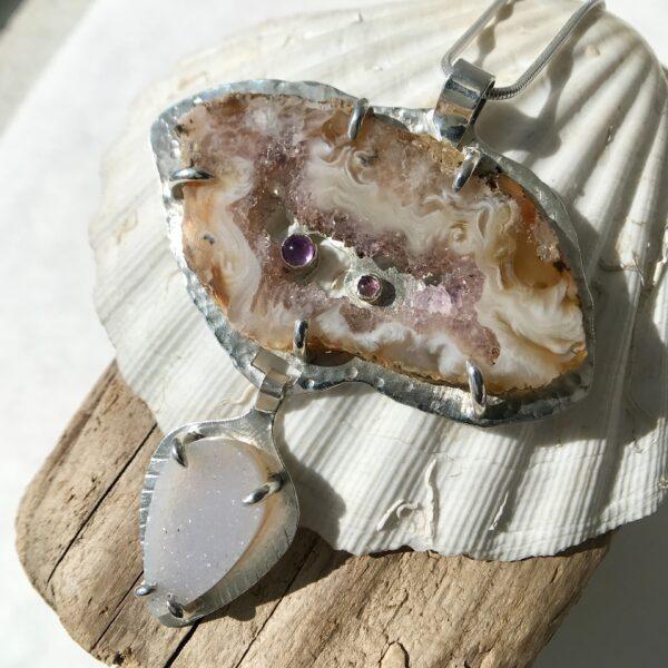 Geode Agate amethyst, pink tourmaline, druzy quartz sterling silver