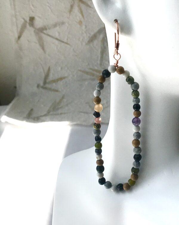 Lg. LIV Multi gemstone beaded hoops
