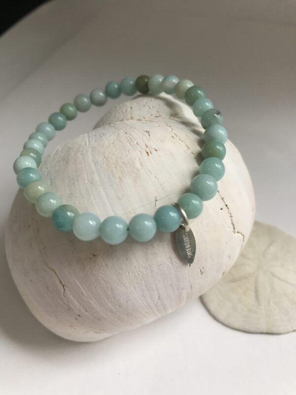 amazonite healing bracelet with sterling tag