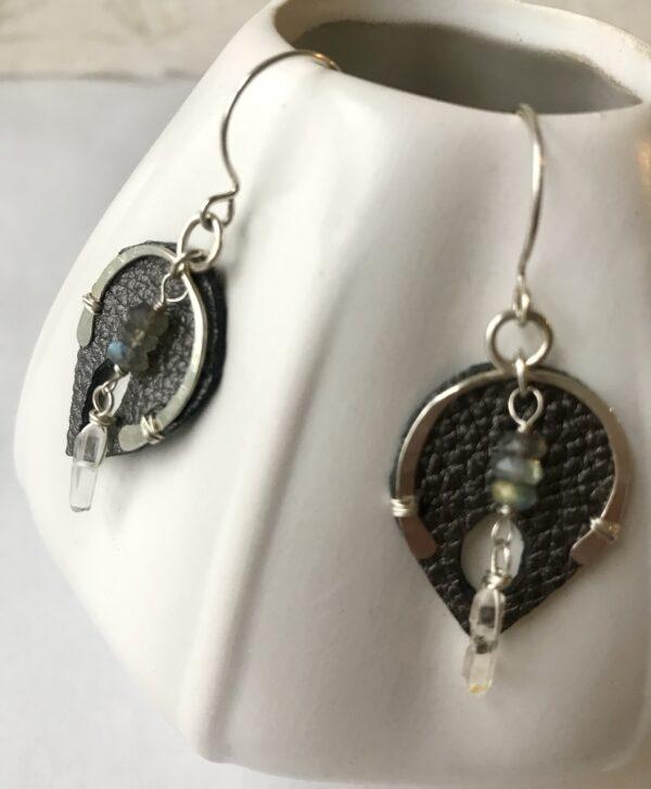 goddess Wishbone earring labradorite sterling crystal