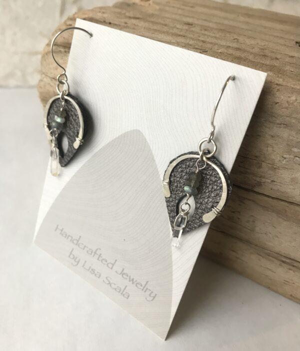 Small goddess Wishbone earring labradorite sterling crystal