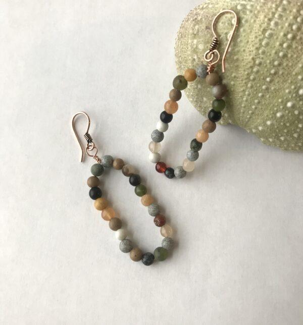 Multi stone beaded hoop earrings on copper
