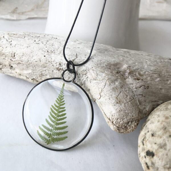Meadow Moon Fern Necklace, Large - Fern, Resin, Sterling Silver