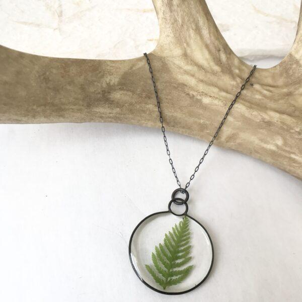 Meadow Moon Fern Necklace, Medium- Fern, Resin, Copper