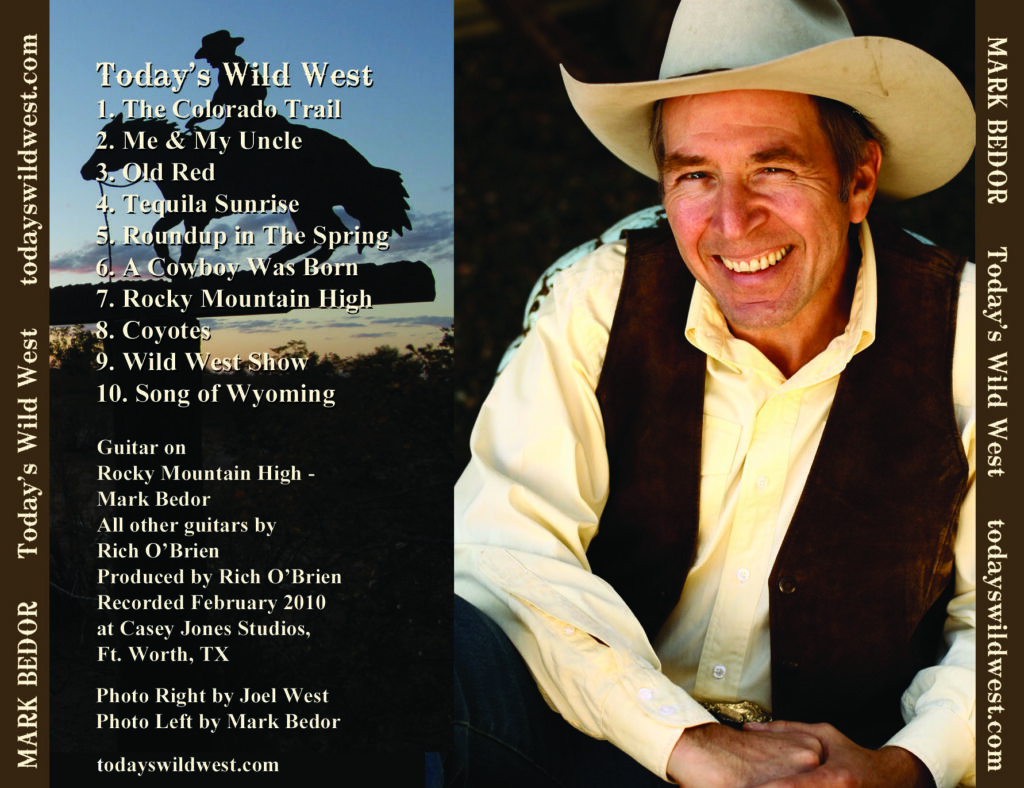 Back side of Today's Wild West Music CD